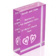 Twin Hearts Wedding Crystal - Personalised Wedding or Anniversary Keepsake Gift